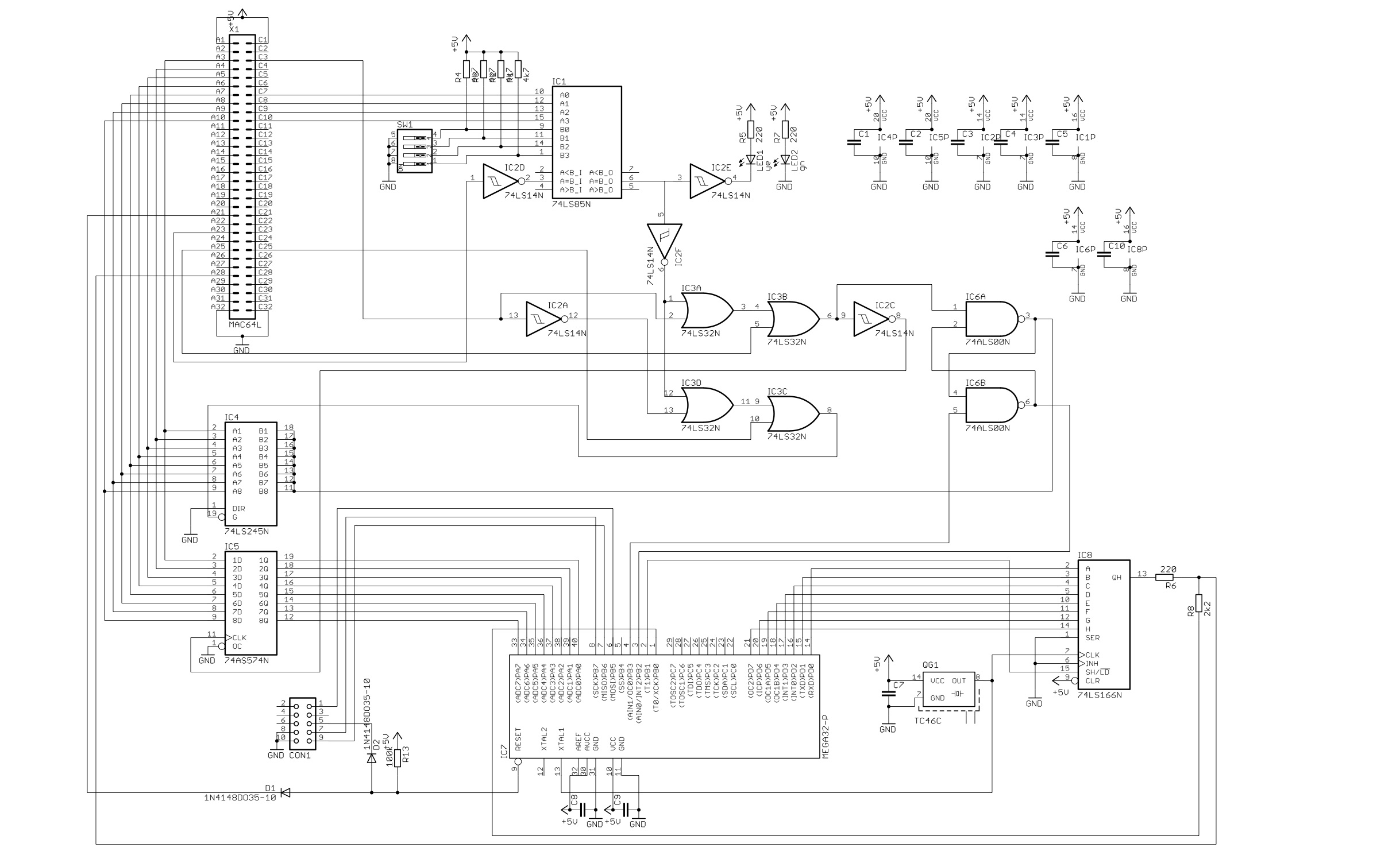 An Avr Based Video Controller Parts Of Generator Circuit Diagram Buy The Picture On Left Shows Schematic For In Upper 64 Pin Bus Connector Z80 Backplane Can Be Seen